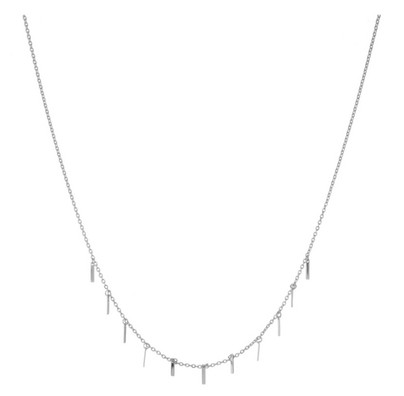 Dainty White Gold dipped bar dangle necklace