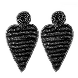 Oversized Seed Beaded Felt Narrow Heart Earrings