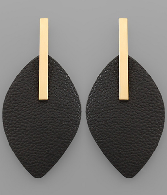 Leather Marquise & Bar Earrings