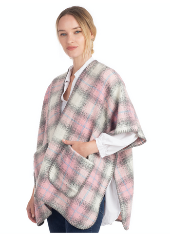 Plaid Cape with Pockets