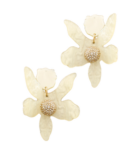 Paved Dome Blossom Earrings