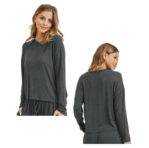 Women's Drop Shoulder Long Sleeve Relaxed Fit Top (TOP ONLY)