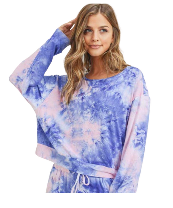 Blue / Pink Women's Long Sleeve Lounge Around Tie-Dye Top  (TOP ONLY)