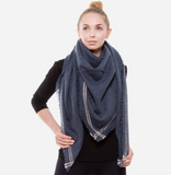 Solid Knit Stripe Bordered Blanket Scarf