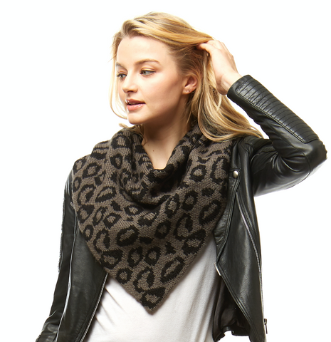 Leopard Print Crow Tube neck Knit Scarf