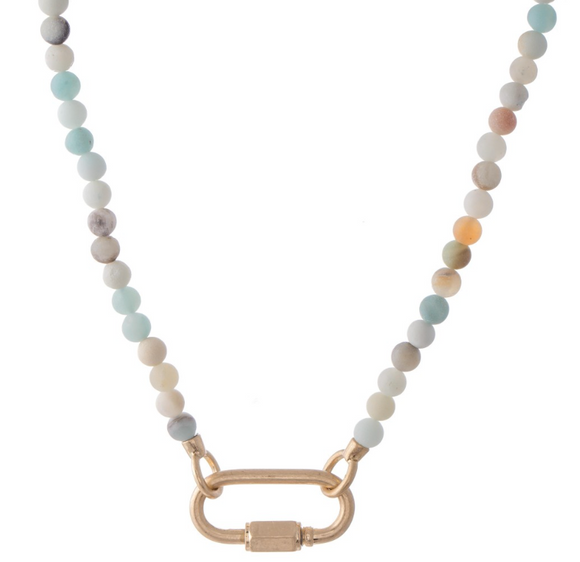 Semi Precious Beaded Carabiner Necklace with Screw Lock Closure