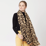 Reversible Leopard Print Scarf with Raw Edges