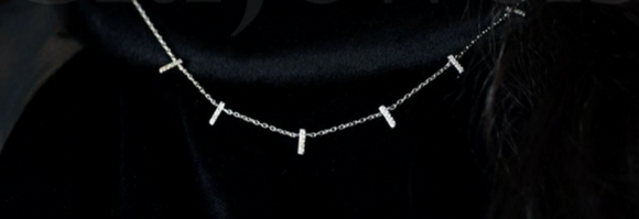Multi-Dangle Mini CZ Bar Necklace