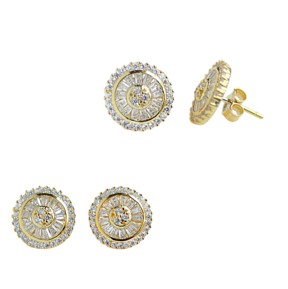 Crystallized CZ Round-shaped Stud Earrings (Gold)
