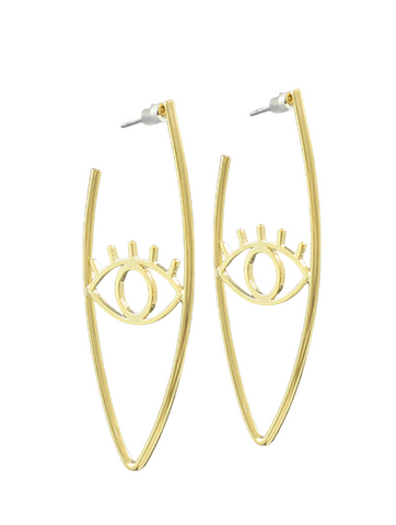 Eye & V Curved Bar Earrings