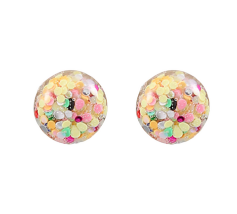 Glitter Flake Ball Earrings