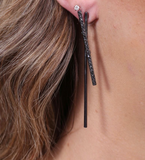 Bakers Embellished Stick Post Earring  -- Hematite