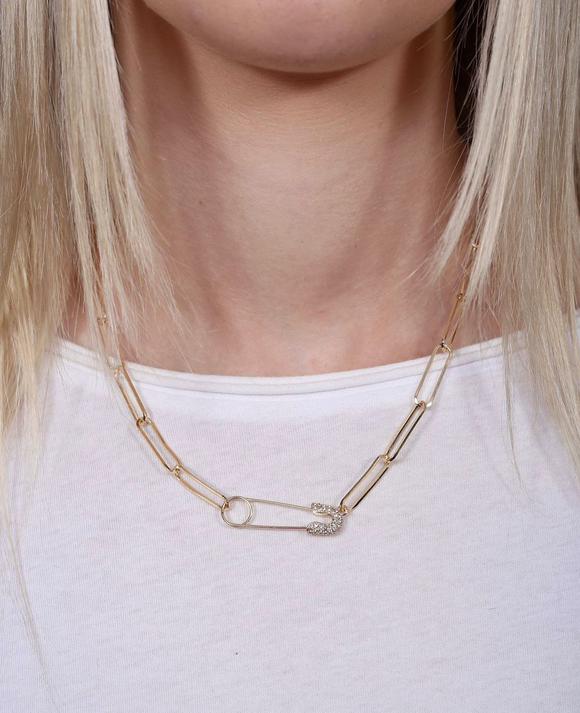 Letts Cz Safety Pin Link Necklace Gold