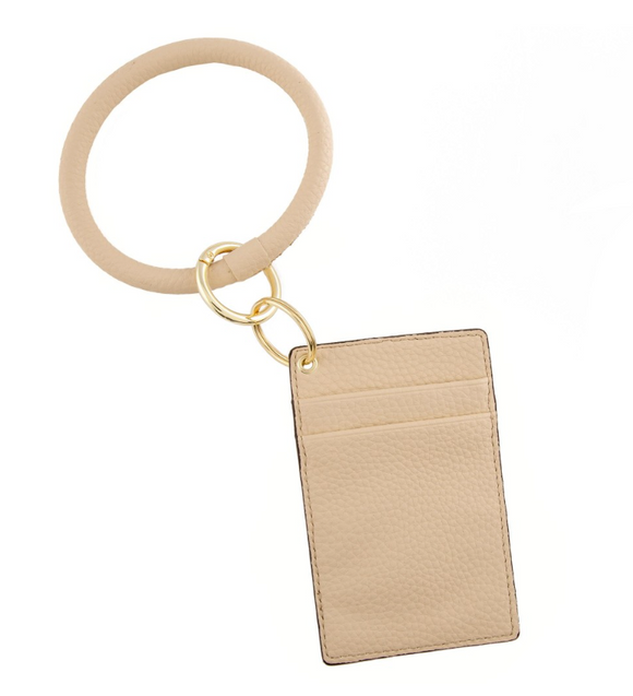 PU Leather Slim Minimalist Card Wallet Key Ring Bangle