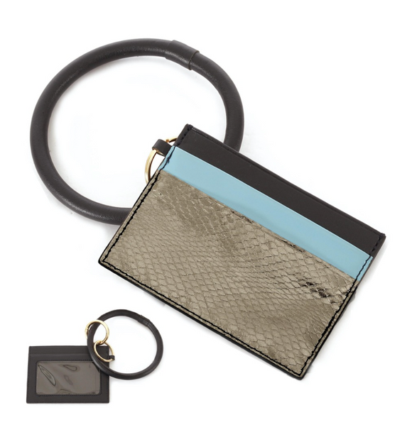 PU Leather Metallic Snakeskin ID Card Holder Key Ring Bangle Wristlet