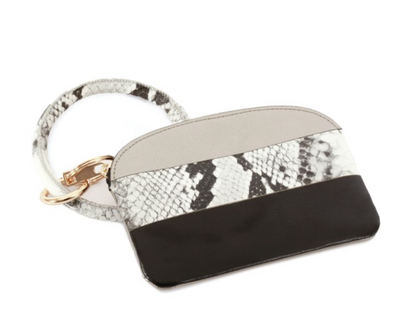 Faux Leather Snakeskin Key Ring Coin Pouch Bangle Wristlet