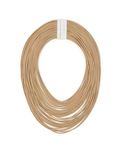 Multi-strand layered collar necklace made of lightweight, faux leather cords