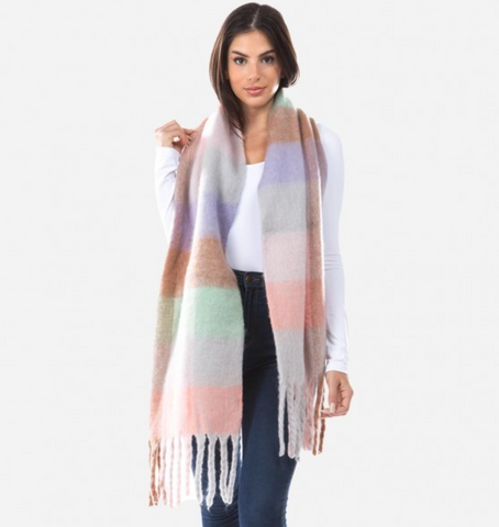 Super Soft Furry Knit Plaid Oblong Scarf Featuring Tassels