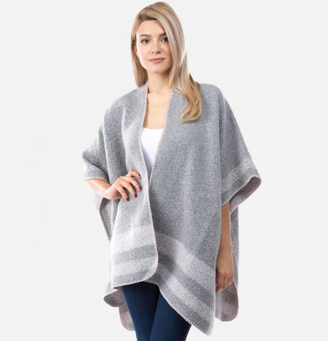Women's Winter Fuzzy Knit Kimono Featuring Bordered Whipstitch Trim