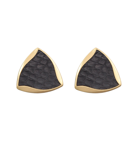 Leather Wavy Triangle Earrings (Oversized Stud)