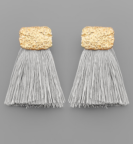 Textured Rectangle & Tassel Earrings