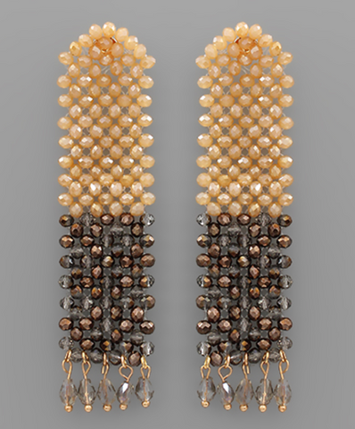 Twotone Wide Bead Bar Earrings