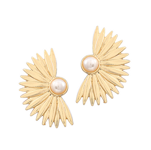 Pearl & Fan Earrings