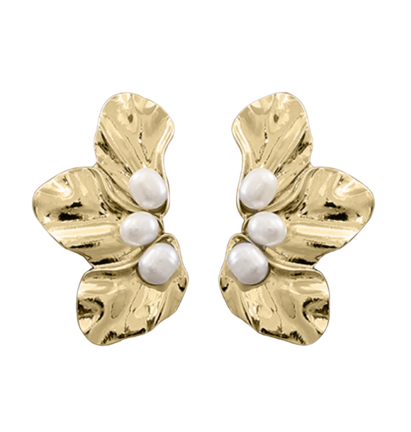 Triple Petal & Pearl Earrings