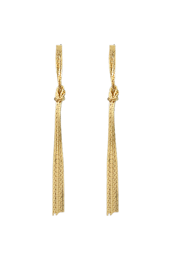Brass Tied Tassel Earrings