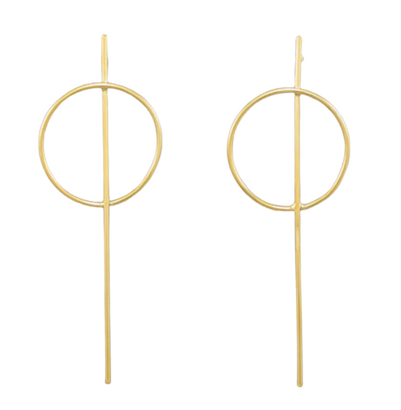 Ring & Bar Drop Earrings -  14KT Gold Dipped