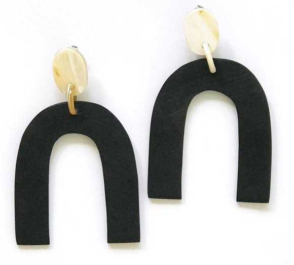 Matte Black Horseshoe Earrings
