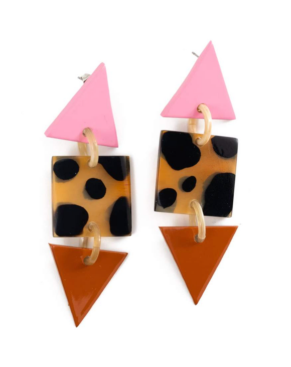 Rose Point Triangle Earrings