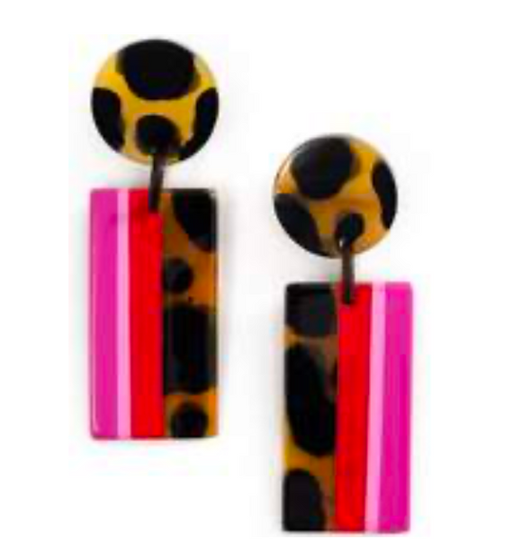 Raspberry Striped Cabana Earrings