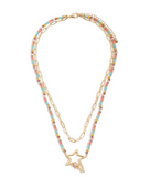 Beaded Chain Link Layered Star Carabiner Necklace