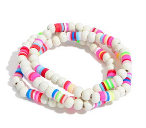 3 PC Wood Beaded Stretch Bracelet Set Featuring Multicolor Rubber Spacer Details