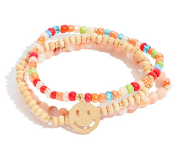 3 PC Beaded Smily Charm Stretch Bracelet Set