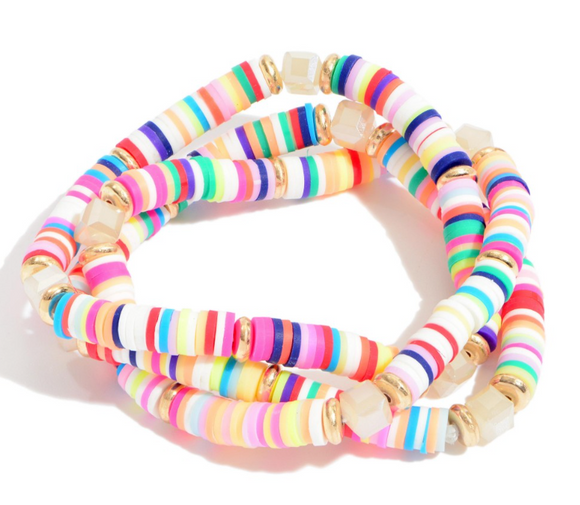 3 PC Rubber Spacer Beaded Stretch Bracelet Set Featuring Glass Bead Details