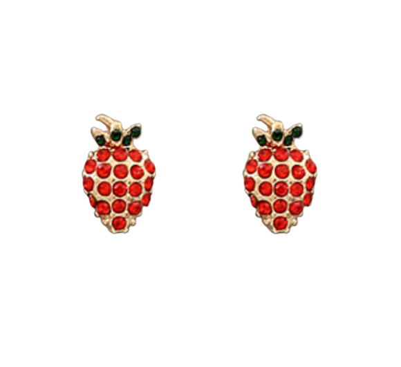 Strawberry Crystal Studs