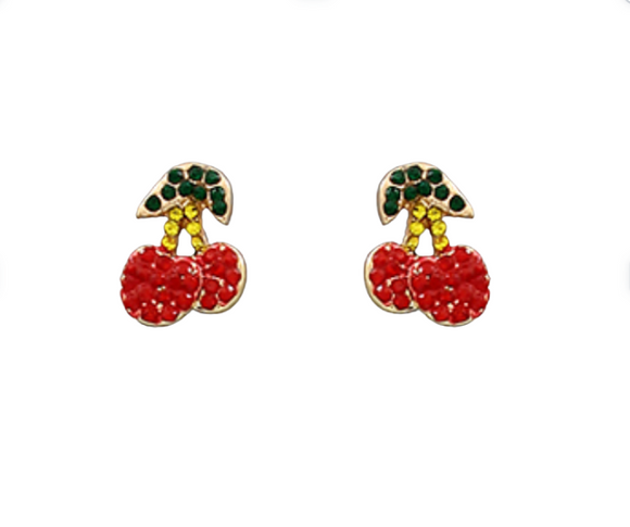 Cherry Crystal Studs