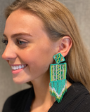 Seed Beaded Square Felt Tassel Statement Earrings