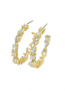 Multi-CZ Hoop Earrings