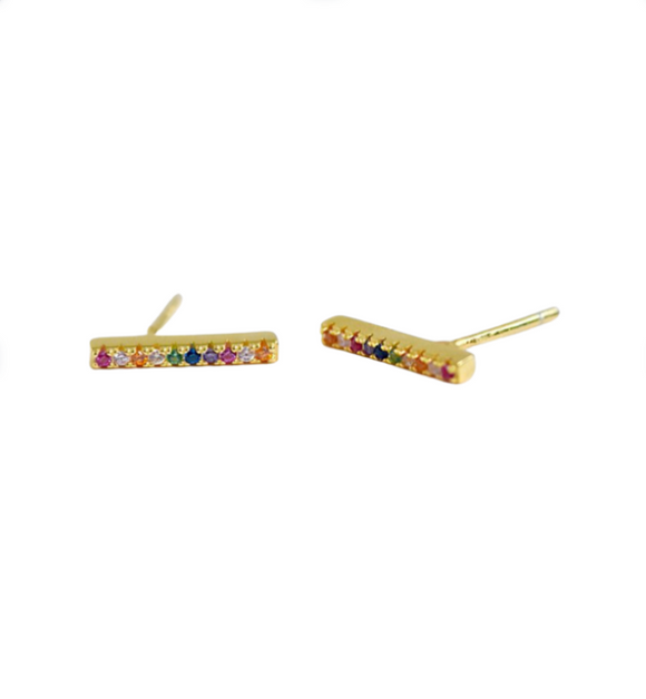 Gold Multi-Color CZ Bar Stud Earrings