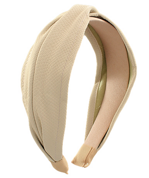 Solid Color Twisted Leather Headband