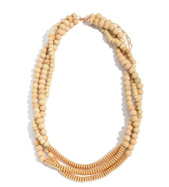 Wood Beaded Layered Statement Necklace
