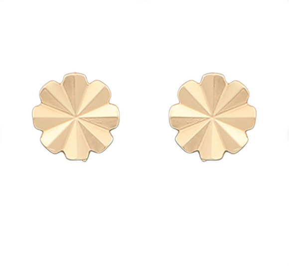 Brass Folded Floral Disk Earrings