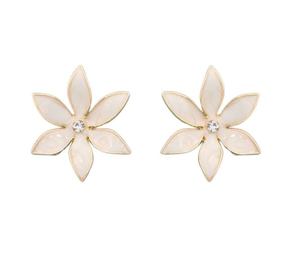 6 Petal Enamel Flower Earrings