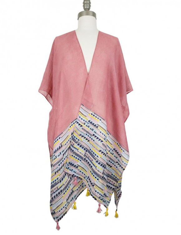 Lightweight Kimono Featuring a Colorful Tribal Pattern and Tassel Accents