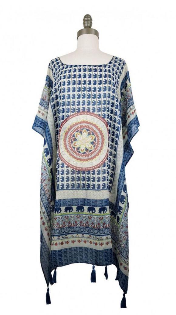 Patterned Short Sleeved Tunic Featuring Tassel Accents