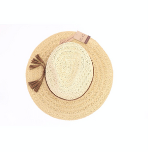 Two Tone Paper Straw Wide Brim Sun Hat (with faux suede braided tassel band)