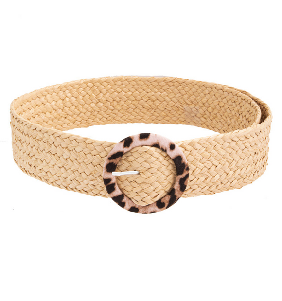 Circle Leopard Buckle Straw Braided Belt